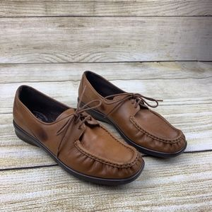 SAS Comfort Moccasin Brown Leather Lace Up Flats